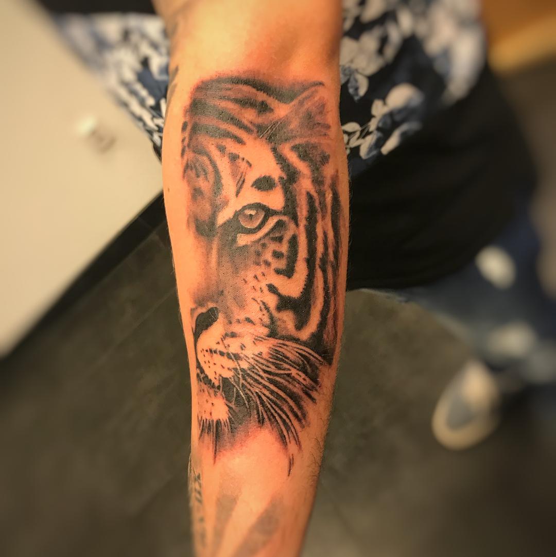郁先生小臂写实虎纹身图案