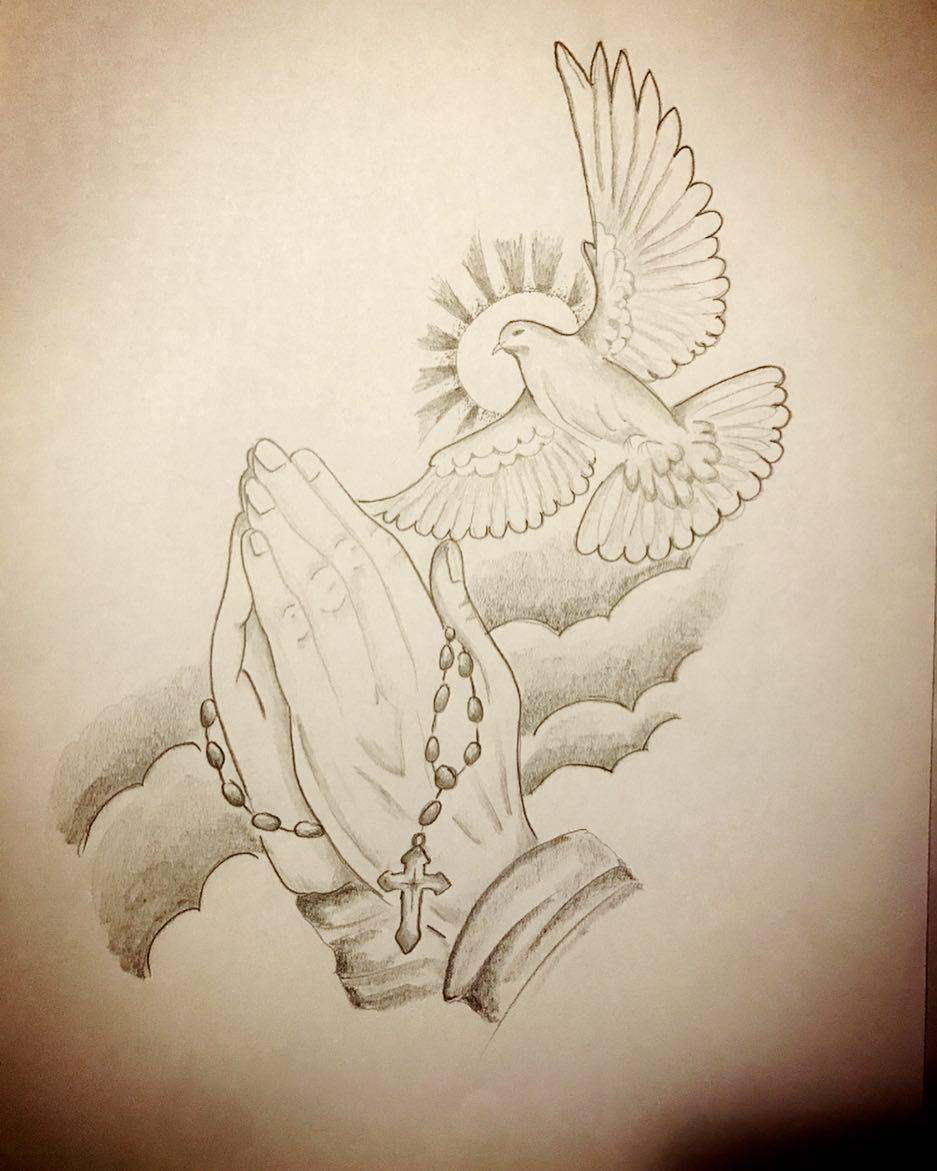 任先生祈祷之手白鸽纹身手稿