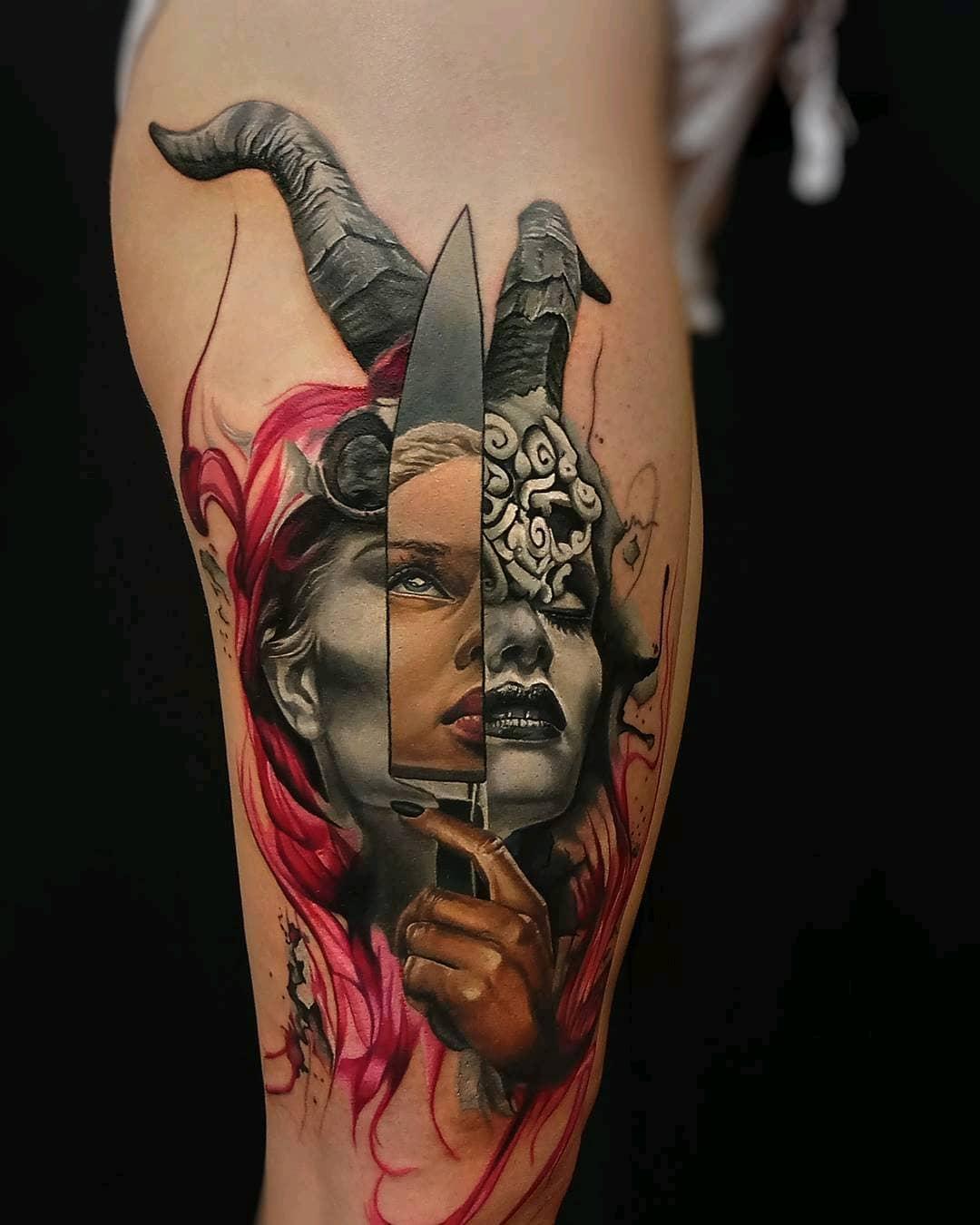 元小姐大腿美女匕首纹身图案图片